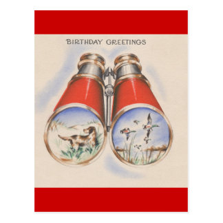 Vintage Birthday Greetings | Bird Hunter Postcard