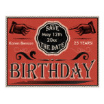 Vintage Birthday Save The Date Postcard