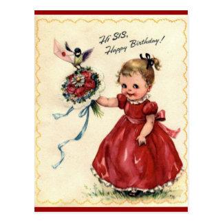 Vintage Birthday Sister postcard