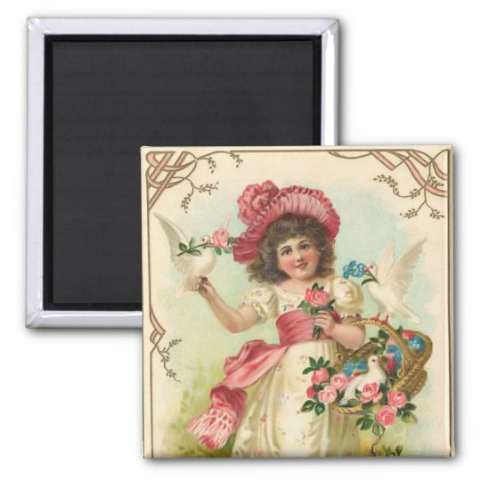 Vintage Birthday Square Magnet