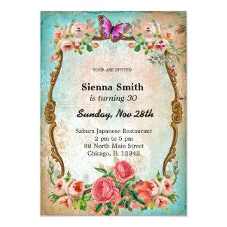 Vintage birthday style 13 cm x 18 cm invitation card