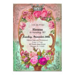 Vintage birthday style 5x7 paper invitation card