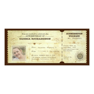 vintage birthday ticket with your photo 10 cm x 24 cm invitation card