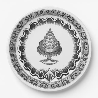 Vintage Bl;ack And White Cake Design 9 Inch Paper Plate