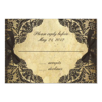 Vintage Black and Cream Lace - RSVP Card