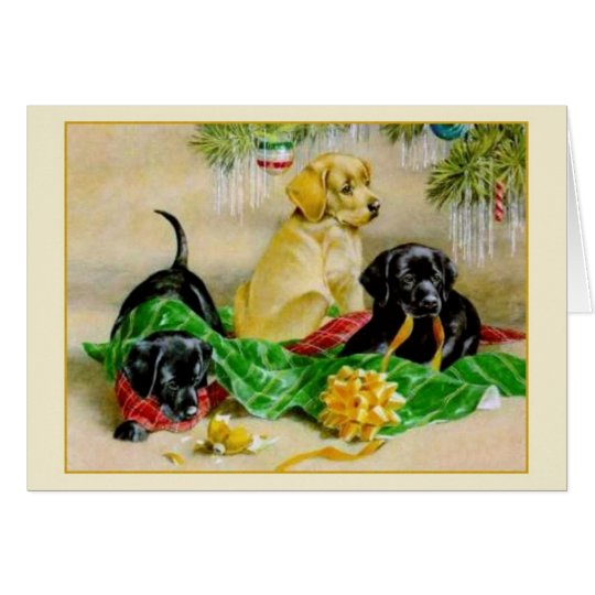 Vintage Black and Golden Retriever Christmas Card