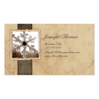 Vintage Black and Ivory Snowflake Business Card Template