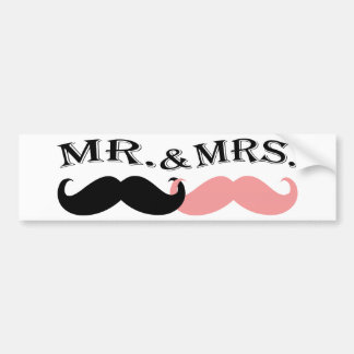 Vintage Black and Pink Mustache Bumper Sticker