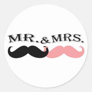 Vintage Black and Pink Mustache Sticker