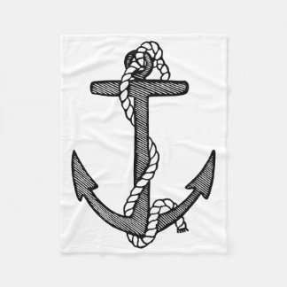 Vintage Black and White Anchor and Rope Fleece Blanket