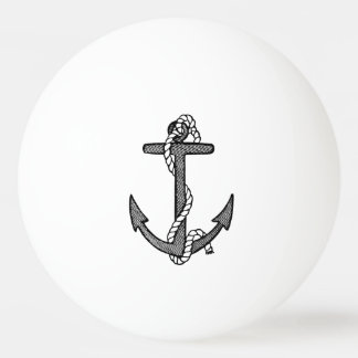 Vintage Black and White Anchor and Rope Ping Pong Ball
