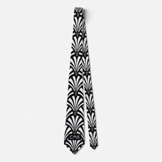 Vintage Black and White Art Deco Pattern Tie