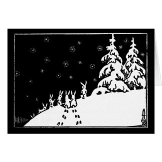 Vintage black and white art rabbits in the snow note card