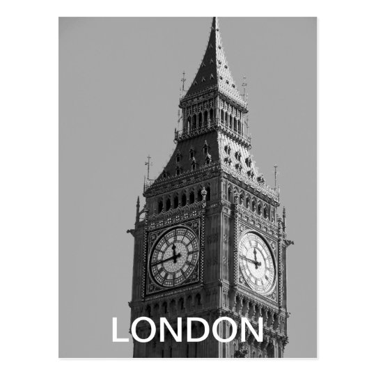 Vintage Black and White Big Ben London postcard