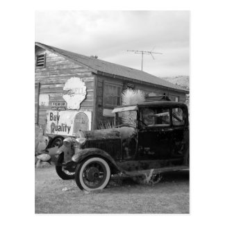 Vintage Black and White Car Postcard