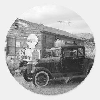 Vintage Black and White Car Round Sticker