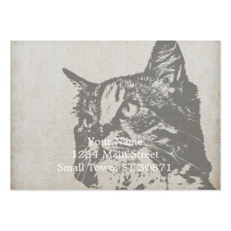 Vintage Black and White Cat Illustration Pack Of Chubby Business Cards