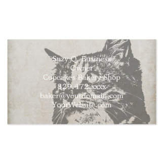 Vintage Black and White Cat Illustration Double-Sided Standard Business Cards (Pack Of 100)
