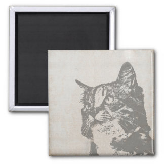 Vintage Black and White Cat Illustration 2 Inch Square Magnet