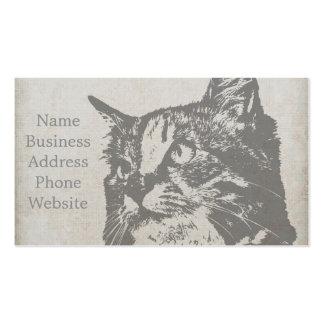 Vintage Black and White Cat Illustration Pack Of Standard Business Cards