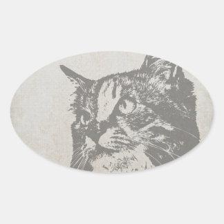 Vintage Black and White Cat Illustration Oval Sticker