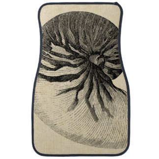 Vintage Black and White Conch Shell Car Mat