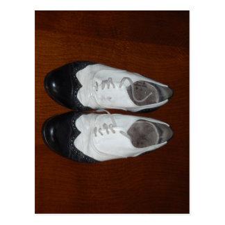 Vintage Black And White Dance Shoes Postcard
