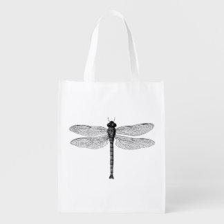 Vintage Black and White Dragonfly Illustration