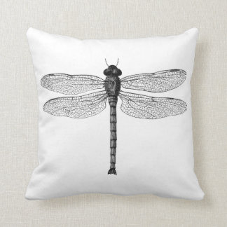 Vintage Black and White Dragonfly Illustration Cushion