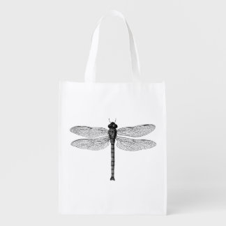 Vintage Black and White Dragonfly Illustration Reusable Grocery Bag