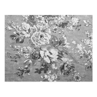 Vintage black and white fabric floral pattern postcard