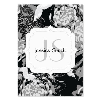 Vintage black and white flowers n birds Monogram Pack Of Chubby Business Cards