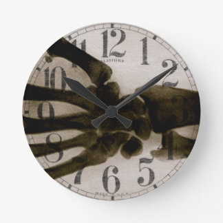 Vintage Black and White Human Hand X-Ray Round Clock