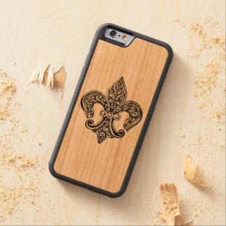 Vintage Black and White Lacy Fleur De Lis Carved Cherry iPhone 6 Bumper Case