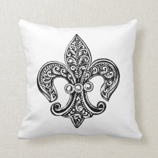 Vintage Black and White Lacy Fleur De Lis Cushion