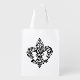 Vintage Black and White Lacy Fleur De Lis Reusable Grocery Bag