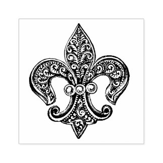 Vintage Black and White Lacy Fleur De Lis Rubber Stamp
