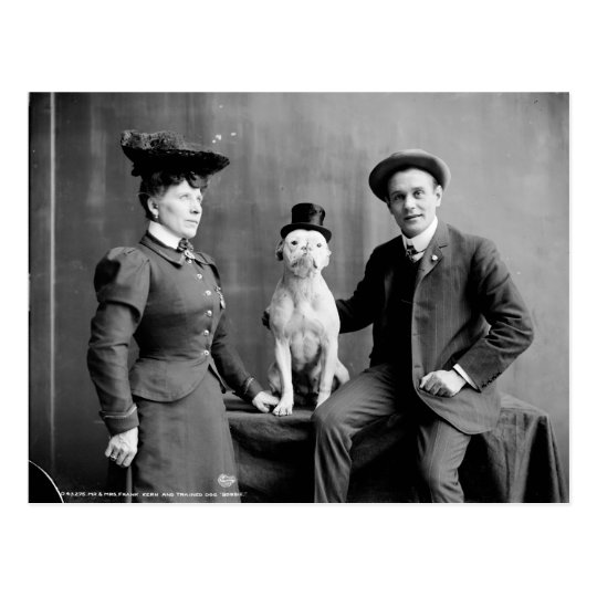 Vintage Black and White Photograph Dog Wearing Hat
