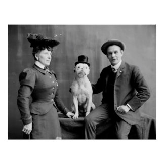 Vintage Black and White Photograph Dog Wearing Hat Poster