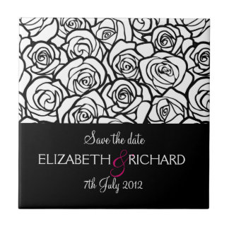 """Vintage black and white roses """"Save the date"""" Tile"""