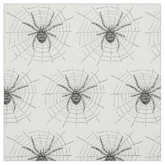 Vintage Black and White Spider Illustration Fabric