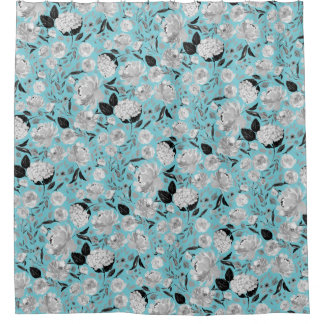 Vintage Black and White Watercolor Floral on Color Shower Curtain