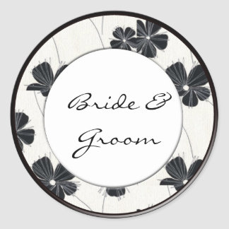 Vintage black and white wedding stickers