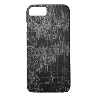 Vintage Black and white World Map Phone Case