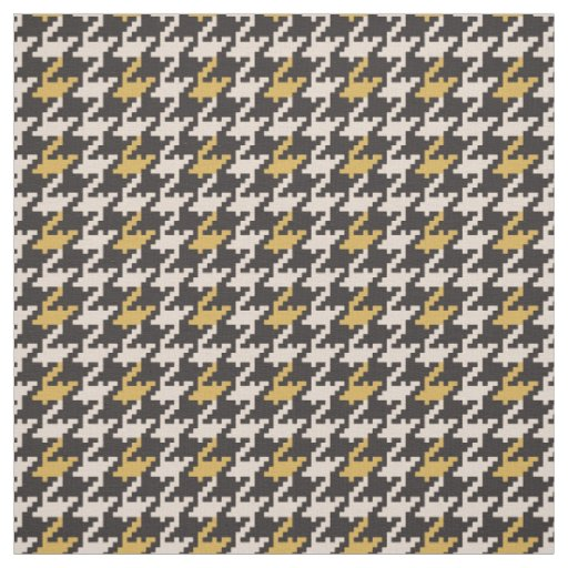 Vintage black and yellow houndstooth plaid pattern fabric