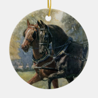 Vintage Black Beauty and Ginger friends in harness Christmas Ornament