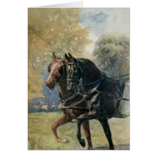Vintage Black Beauty / Ginger Horses Customizable Card