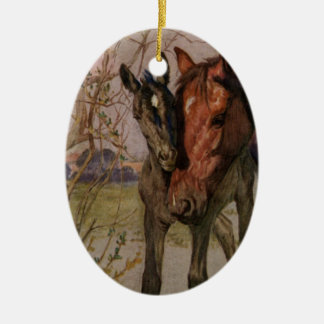 "Vintage Black Beauty horse ""My Mother and I"" Christmas Ornament"