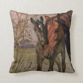 """Vintage Black Beauty horse """"My Mother and I"""" Cushion"""