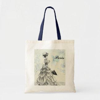 Vintage Black, Blue and White Paris Tote Bag